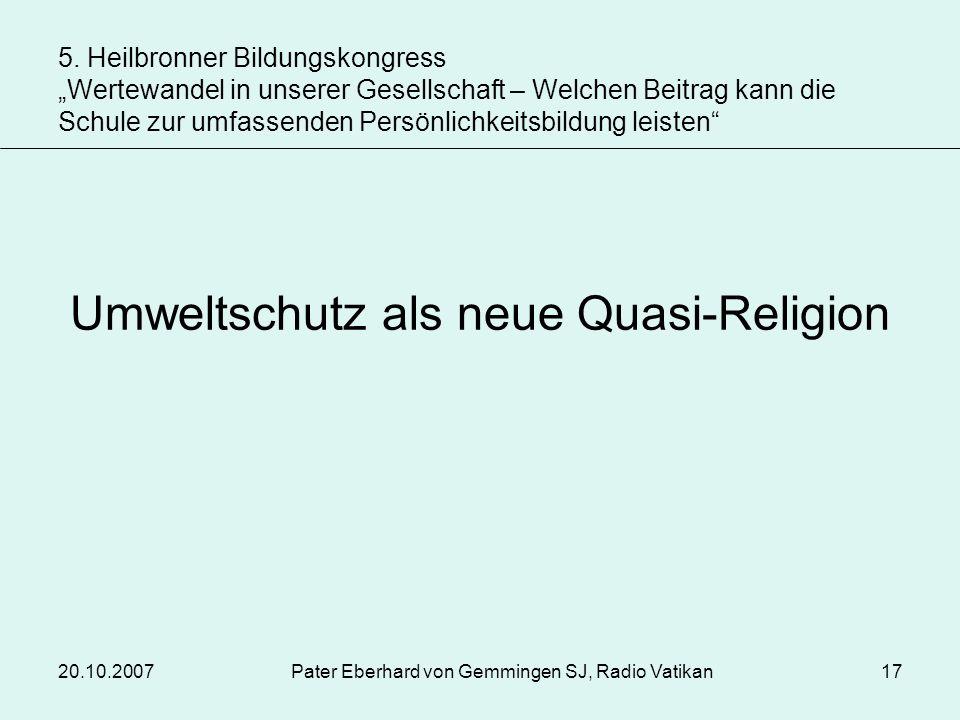 Umweltschutz als neue Quasi-Religion