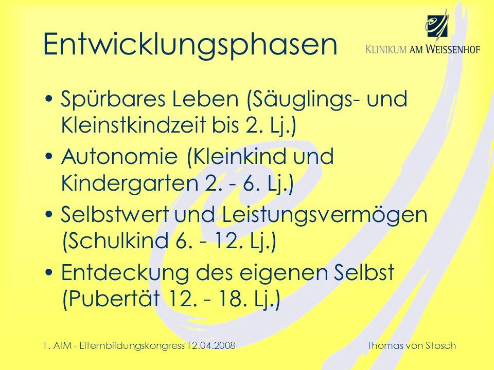 Entwicklungsphasen Spürbares Leben (Säuglings- und Kleinstkindzeit bis 2. Lj.) Autonomie (Kleinkind und Kindergarten 2. - 6. Lj.)
