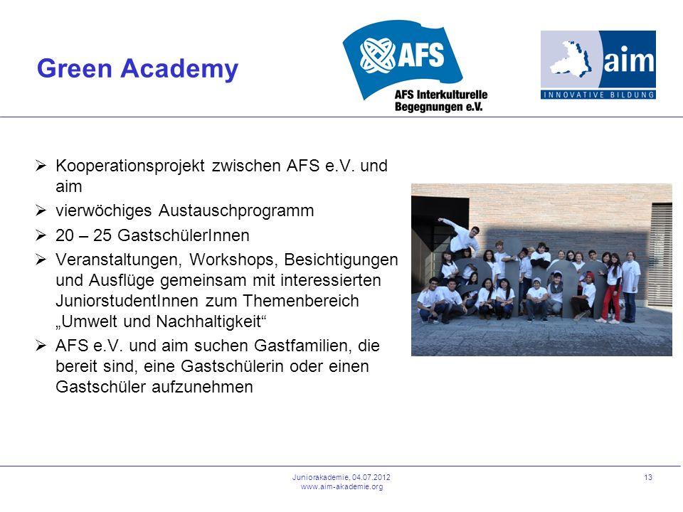 Juniorakademie, 04.07.2012 www.aim-akademie.org