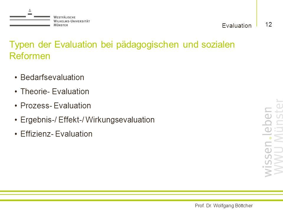 Typen der Evaluation bei pädagogischen und sozialen Reformen