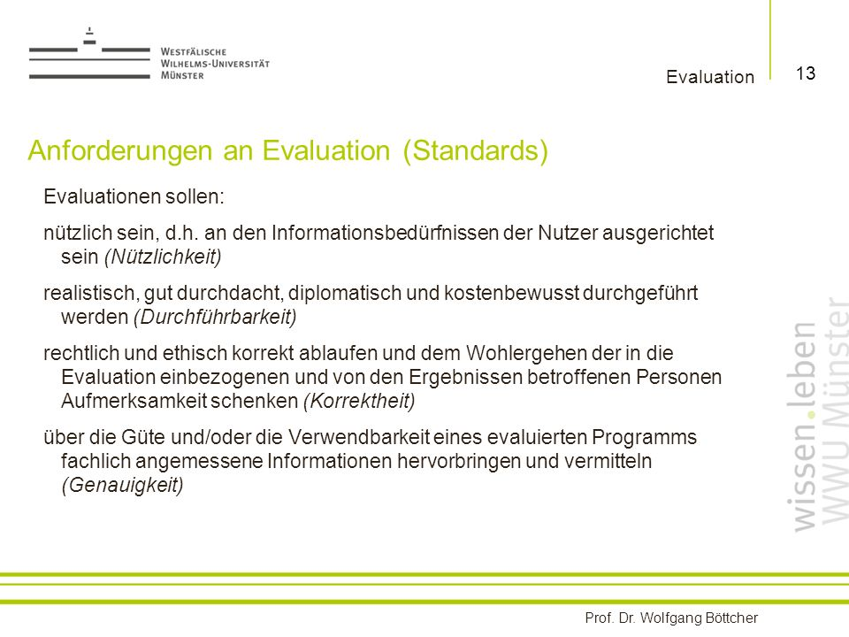 Anforderungen an Evaluation (Standards)