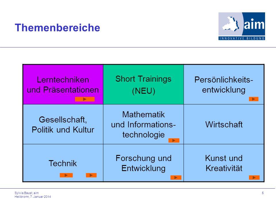 Themenbereiche Lerntechniken und Präsentationen Short Trainings (NEU)