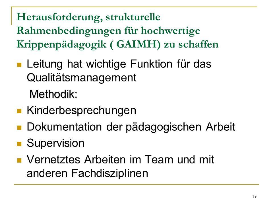 Herausforderung, strukturelle Rahmenbedingungen für hochwertige Krippenpädagogik ( GAIMH) zu schaffen