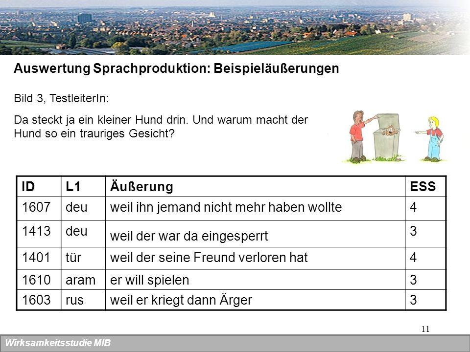 Auswertung Sprachproduktion: Beispieläußerungen