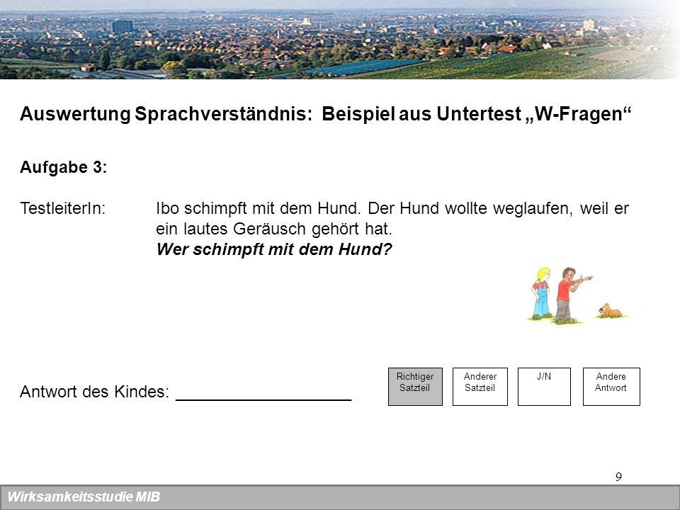 """Auswertung Sprachverständnis: Beispiel aus Untertest """"W-Fragen"""