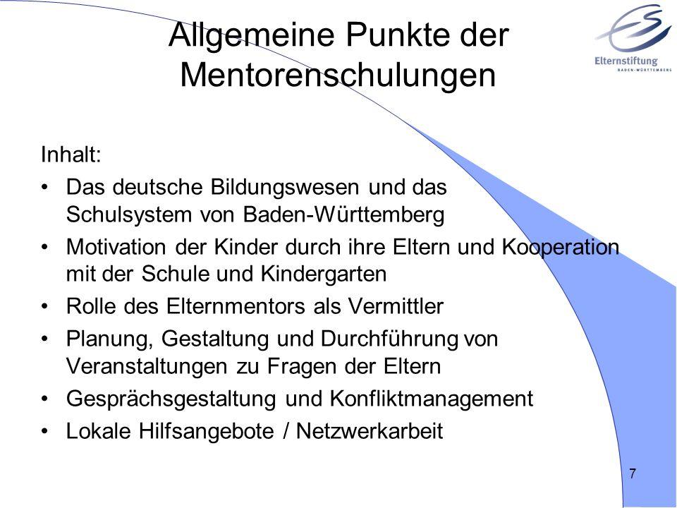 Allgemeine Punkte der Mentorenschulungen
