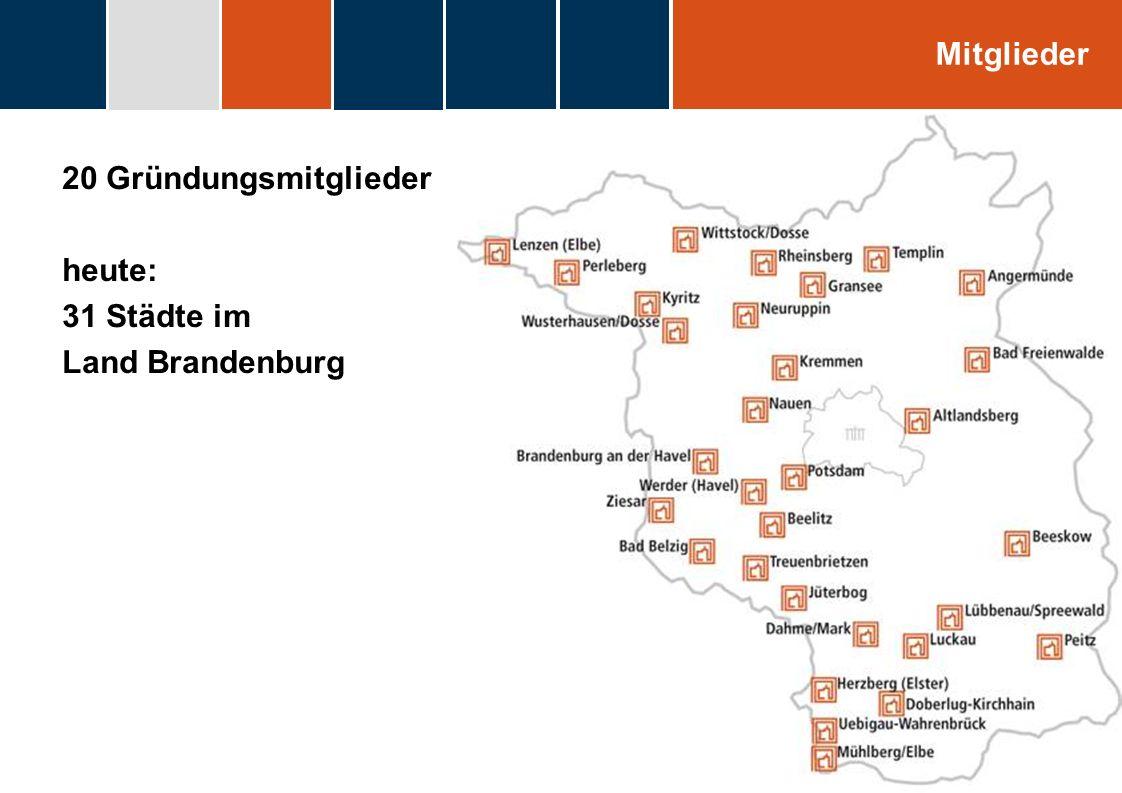 heute: 31 Städte im Land Brandenburg