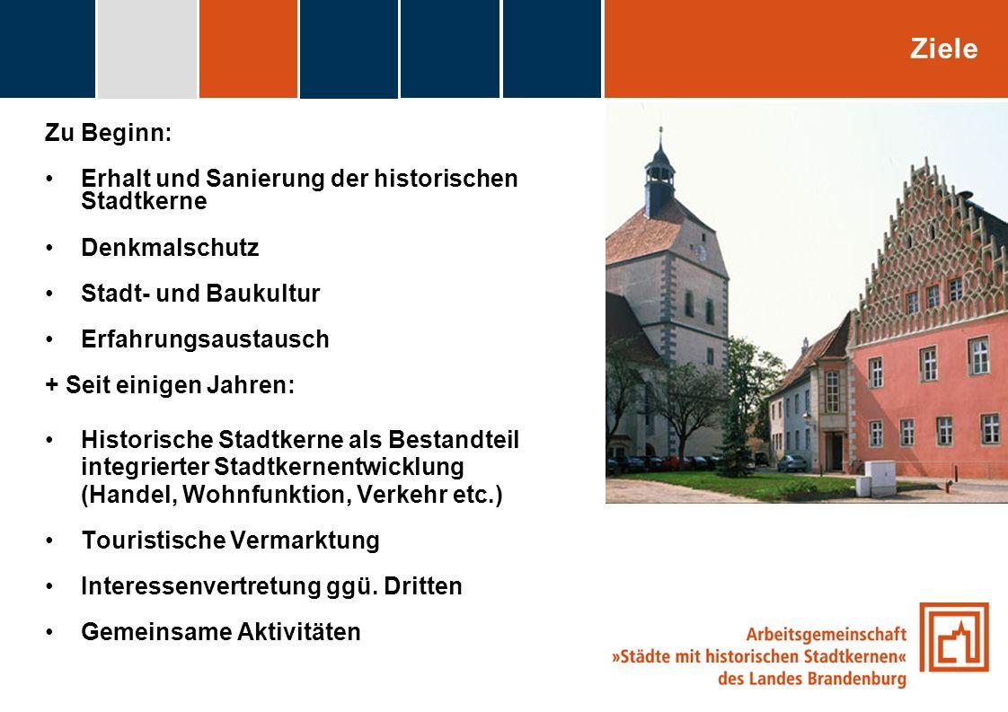 Ziele Zu Beginn: Erhalt und Sanierung der historischen Stadtkerne
