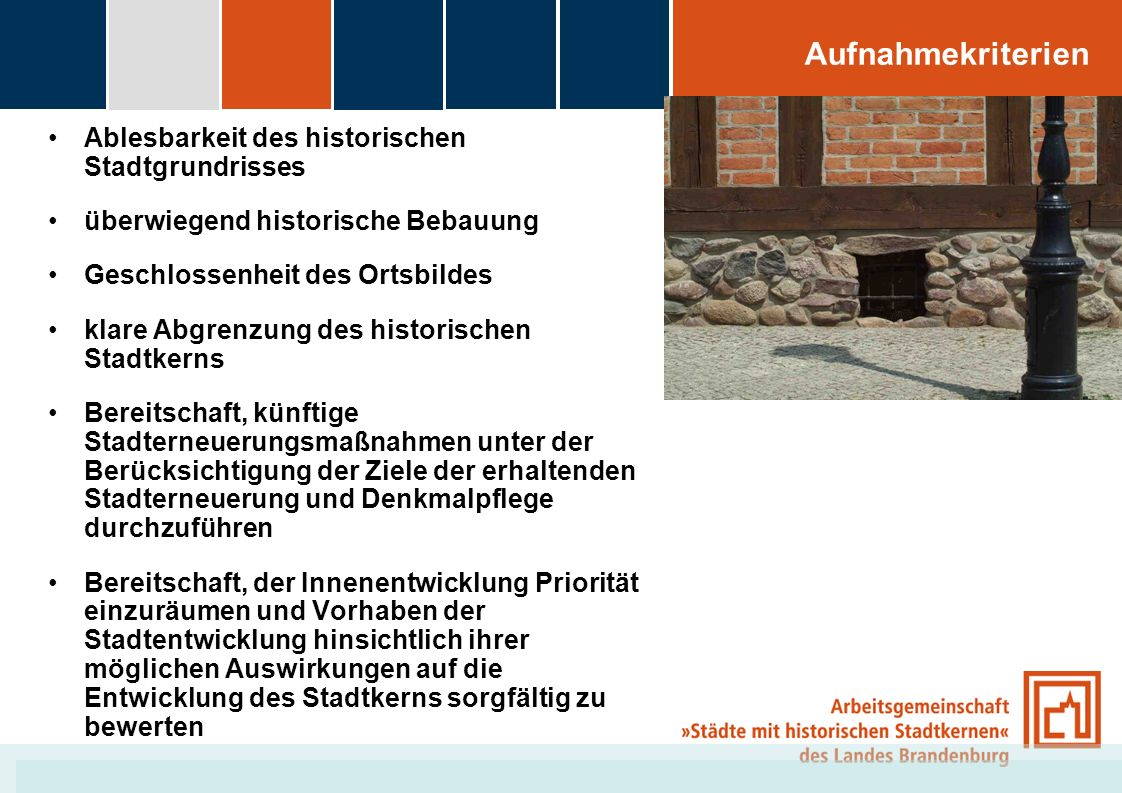 Aufnahmekriterien Ablesbarkeit des historischen Stadtgrundrisses