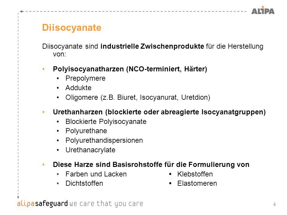 Diisocyanate Diisocyanate sind industrielle Zwischenprodukte für die Herstellung von: Polyisocyanatharzen (NCO-terminiert, Härter)