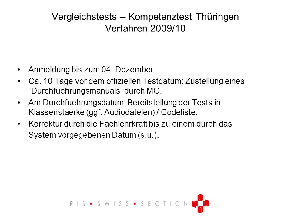 Vergleichstests – Kompetenztest Thüringen Verfahren 2009/10