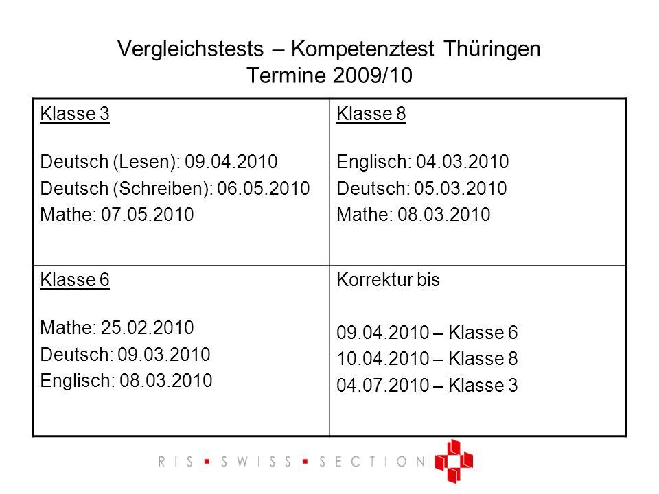Vergleichstests – Kompetenztest Thüringen Termine 2009/10