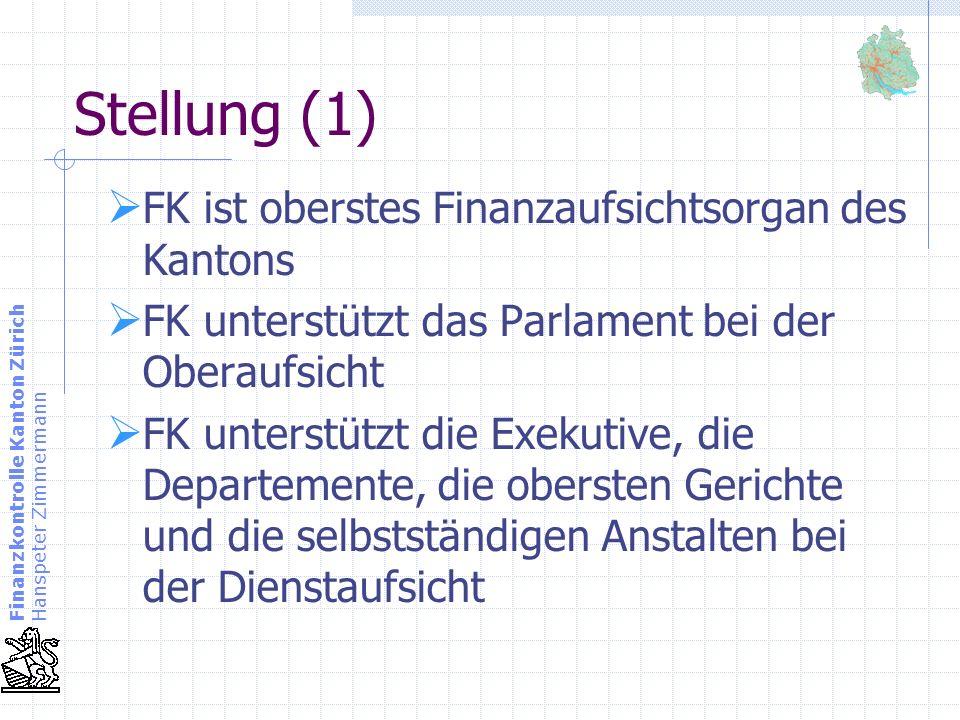 Stellung (1) FK ist oberstes Finanzaufsichtsorgan des Kantons