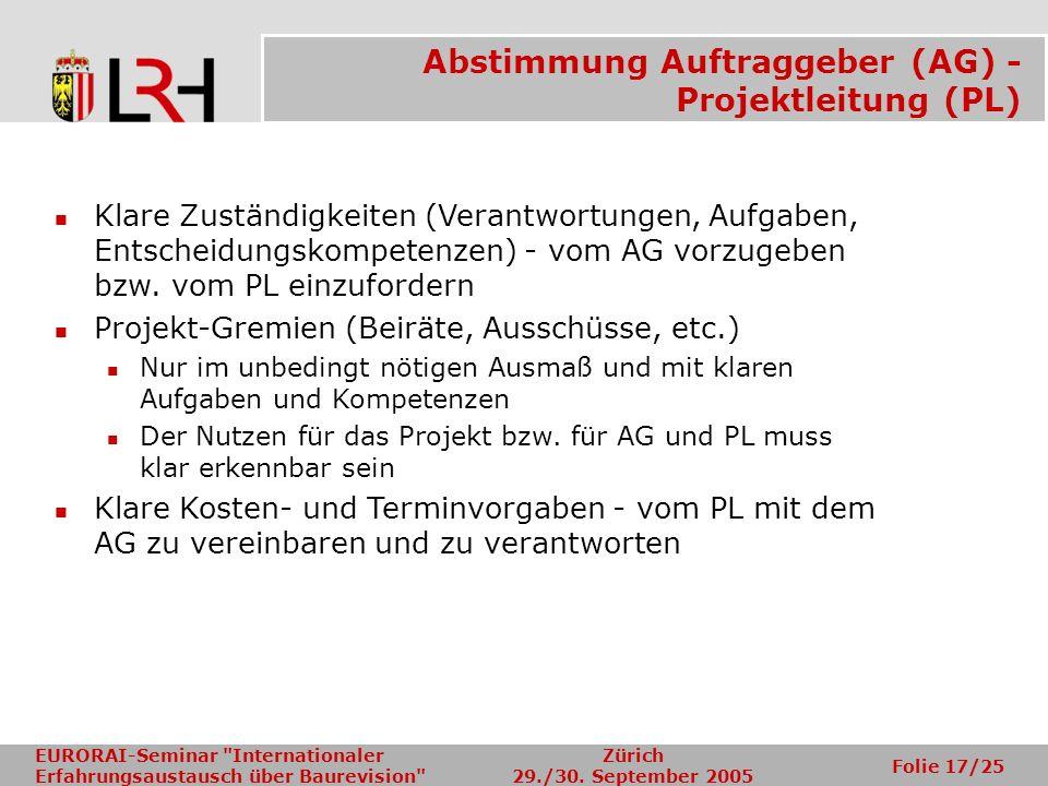 Abstimmung Auftraggeber (AG) - Projektleitung (PL)