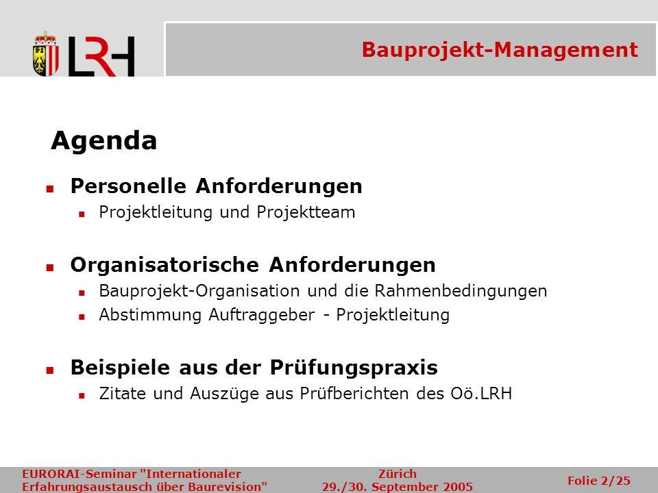 Agenda Bauprojekt-Management Personelle Anforderungen