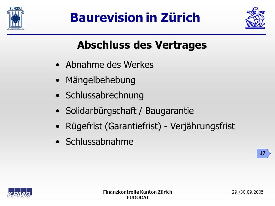 Abschluss des Vertrages Finanzkontrolle Kanton Zürich