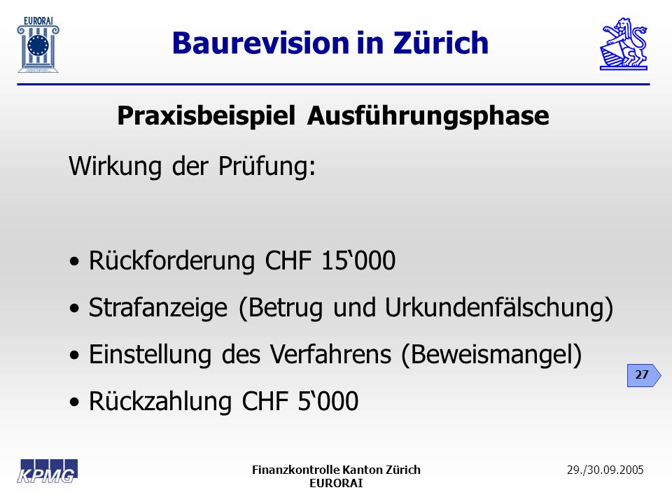 Praxisbeispiel Ausführungsphase Finanzkontrolle Kanton Zürich