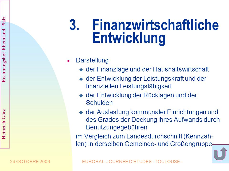 3. Finanzwirtschaftliche Entwicklung