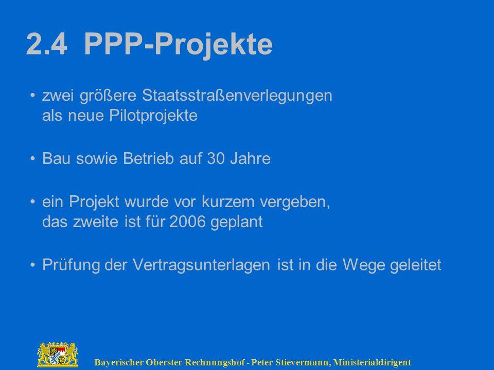 2.4 PPP-Projekte zwei größere Staatsstraßenverlegungen als neue Pilotprojekte. Bau sowie Betrieb auf 30 Jahre.