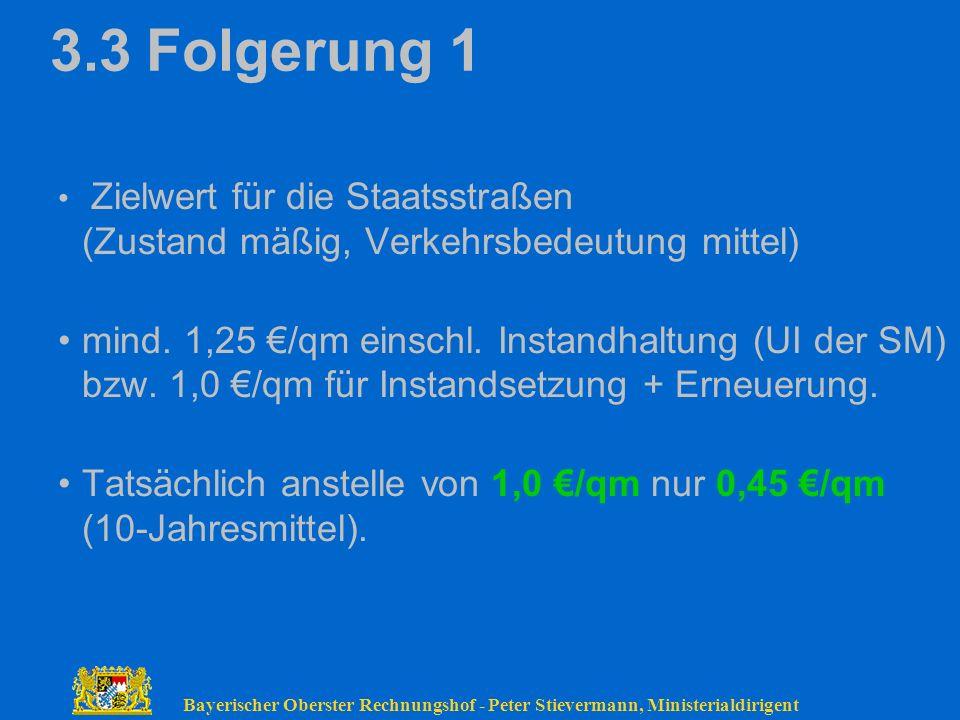 3.3 Folgerung 1 Zielwert für die Staatsstraßen (Zustand mäßig, Verkehrsbedeutung mittel)