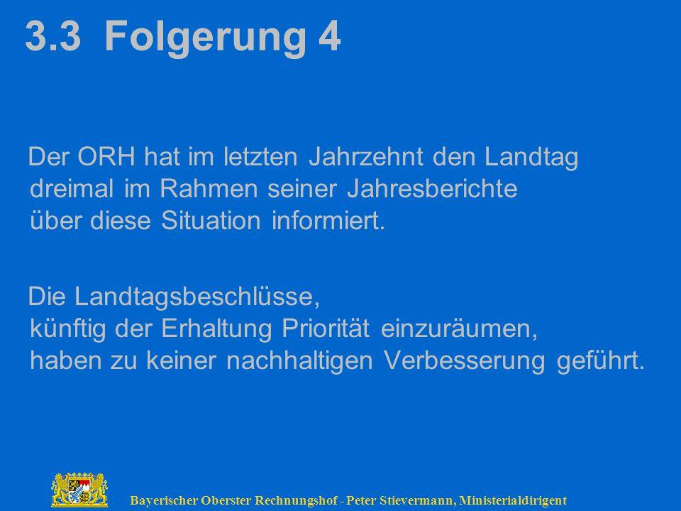 3.3 Folgerung 4 Der ORH hat im letzten Jahrzehnt den Landtag dreimal im Rahmen seiner Jahresberichte über diese Situation informiert.