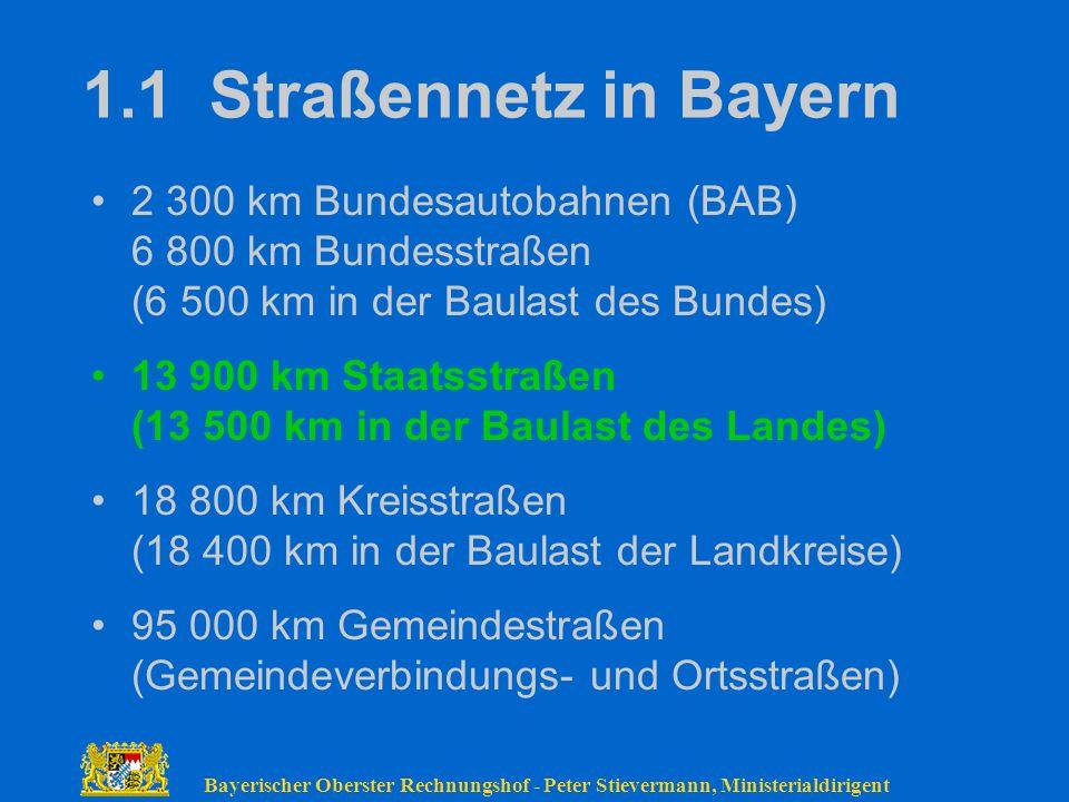 1.1 Straßennetz in Bayern 2 300 km Bundesautobahnen (BAB) 6 800 km Bundesstraßen (6 500 km in der Baulast des Bundes)