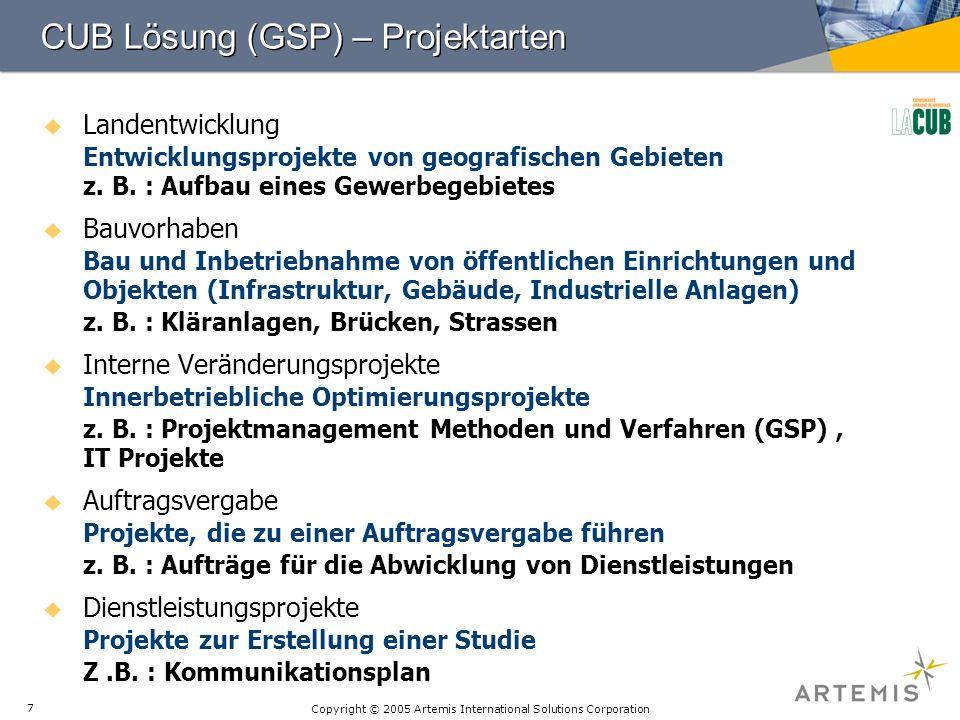 CUB Lösung (GSP) – Projektarten