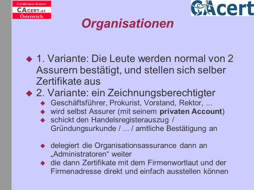 Organisationen 1. Variante: Die Leute werden normal von 2 Assurern bestätigt, und stellen sich selber Zertifikate aus.