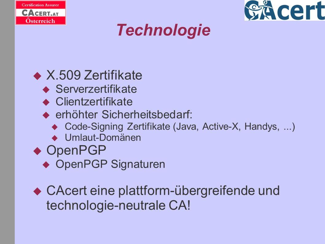 Technologie X.509 Zertifikate OpenPGP
