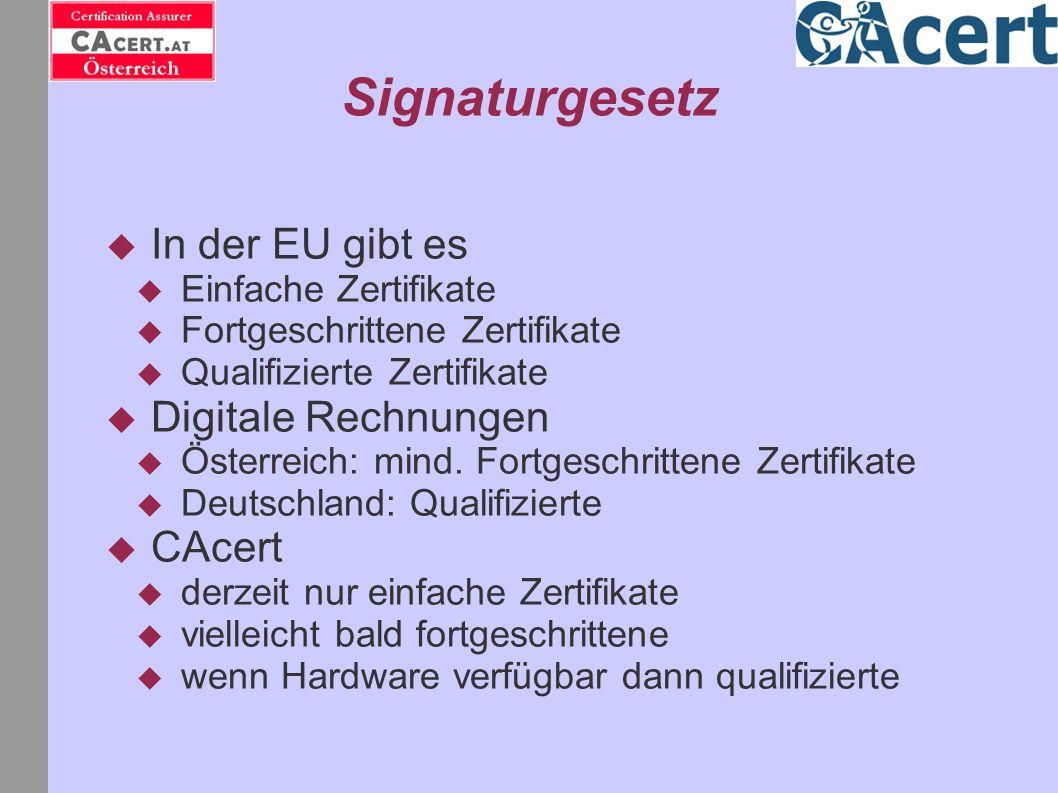 Signaturgesetz In der EU gibt es Digitale Rechnungen CAcert