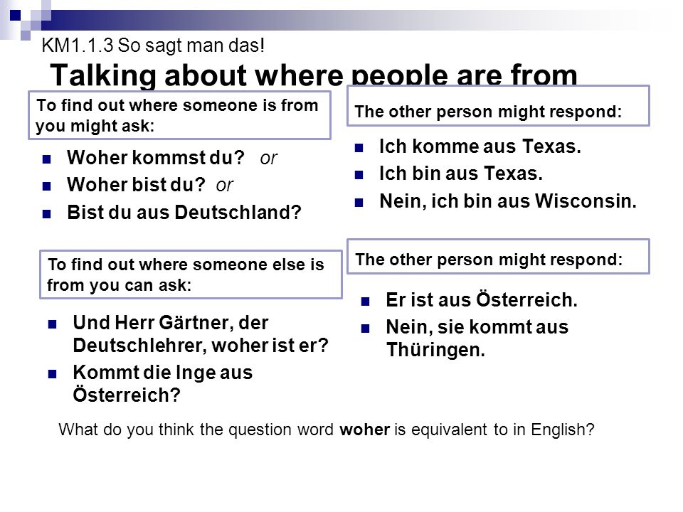 KM1.1.3 So sagt man das! Talking about where people are from