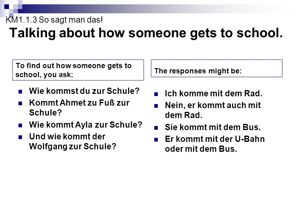 KM1.1.3 So sagt man das! Talking about how someone gets to school.