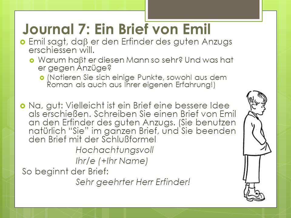 Journal 7: Ein Brief von Emil