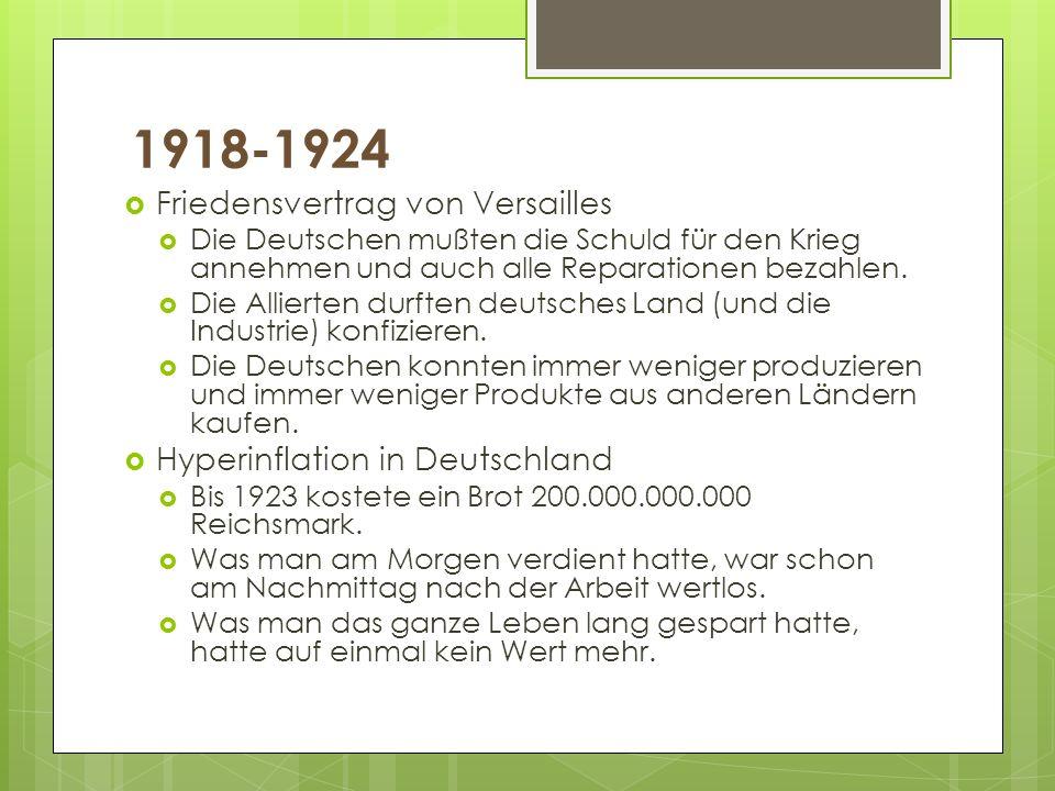 1918-1924 Friedensvertrag von Versailles Hyperinflation in Deutschland