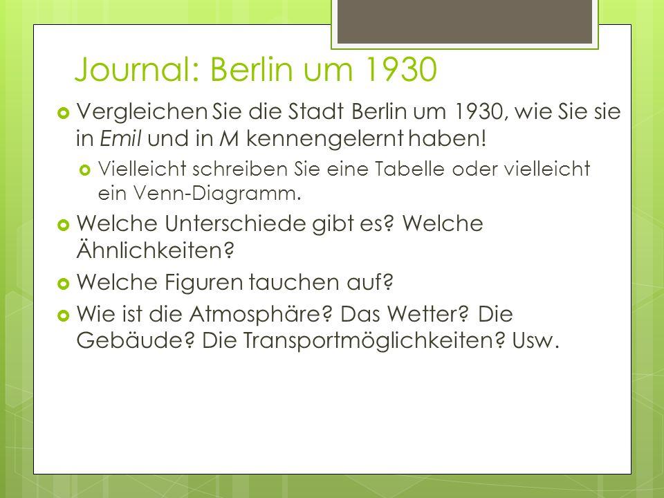 Journal: Berlin um 1930 Vergleichen Sie die Stadt Berlin um 1930, wie Sie sie in Emil und in M kennengelernt haben!