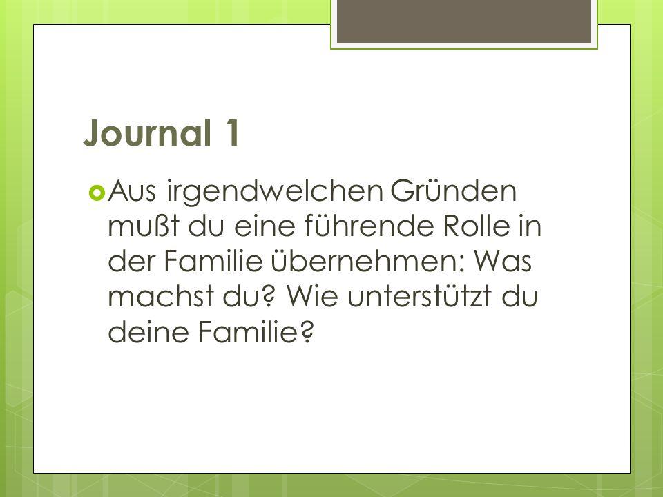 Journal 1 Aus irgendwelchen Gründen mußt du eine führende Rolle in der Familie übernehmen: Was machst du.