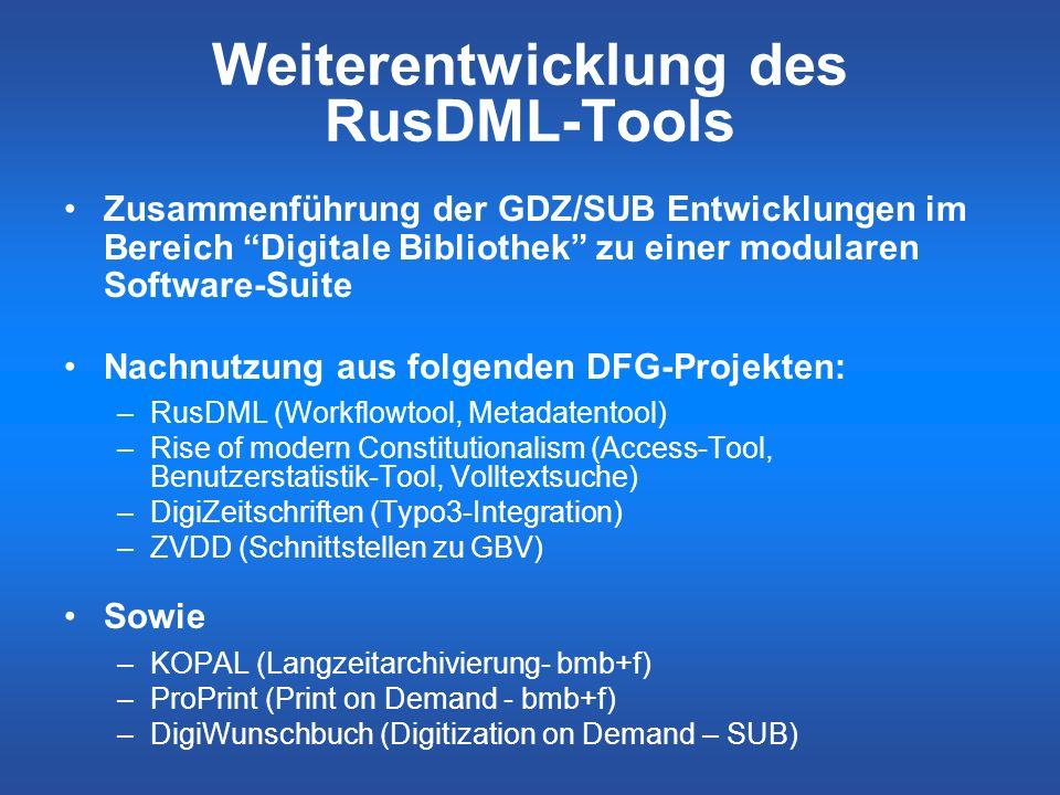 Weiterentwicklung des RusDML-Tools