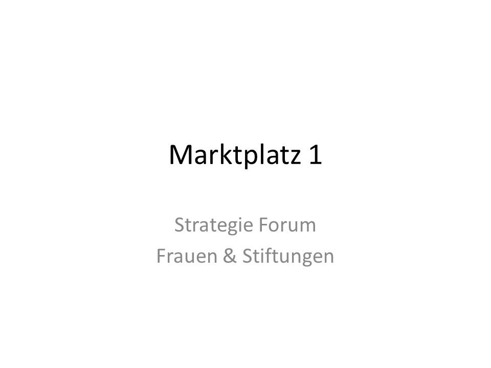 Strategie Forum Frauen & Stiftungen