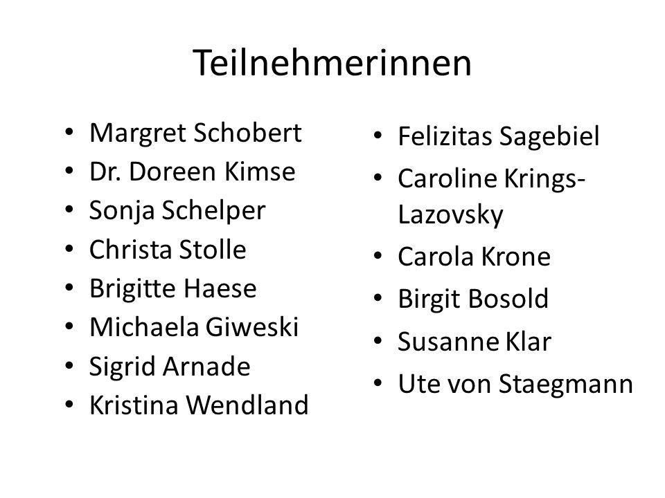 Teilnehmerinnen Margret Schobert Dr. Doreen Kimse Sonja Schelper