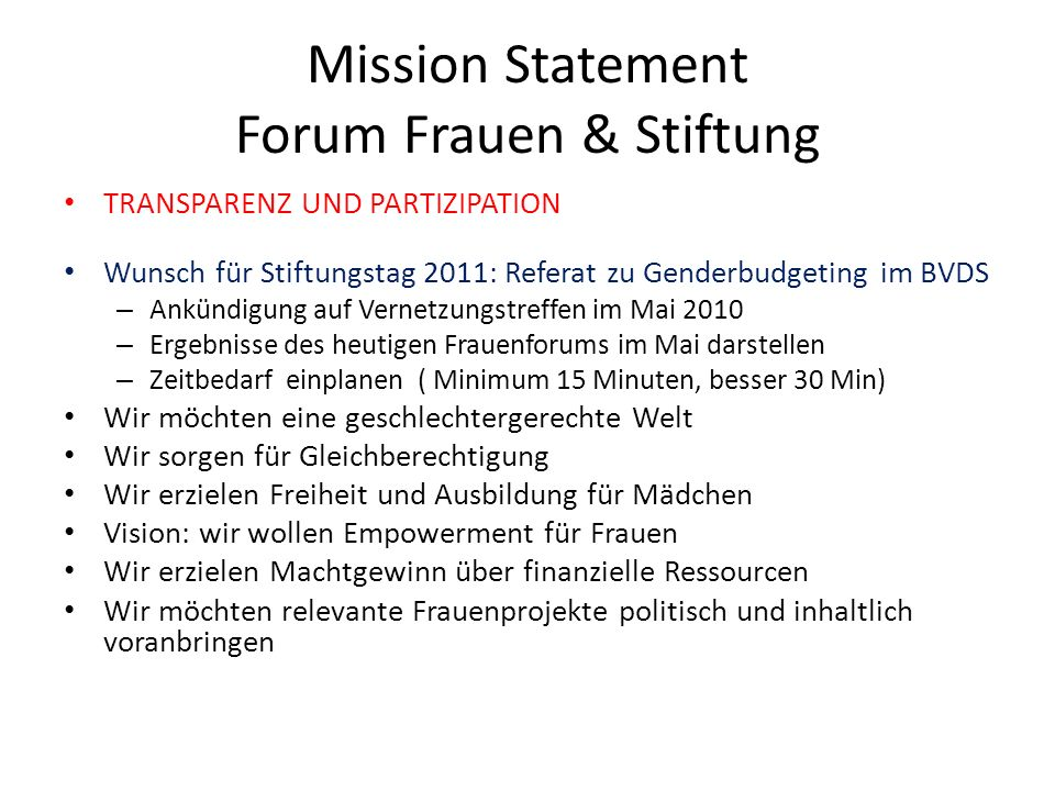Mission Statement Forum Frauen & Stiftung