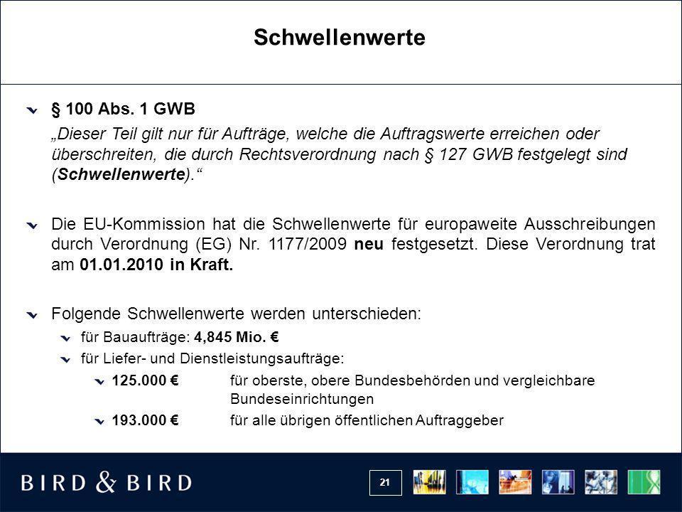 Schwellenwerte § 100 Abs. 1 GWB