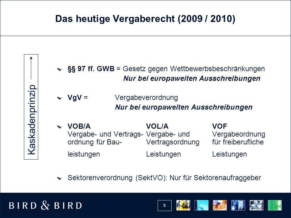 Das heutige Vergaberecht (2009 / 2010)