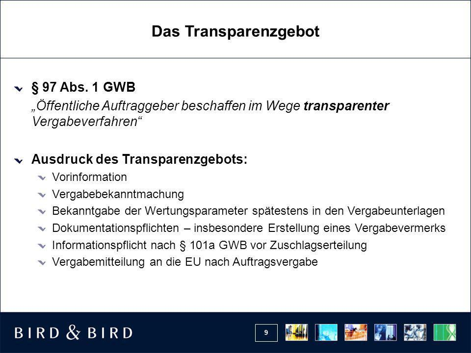 Das Transparenzgebot § 97 Abs. 1 GWB