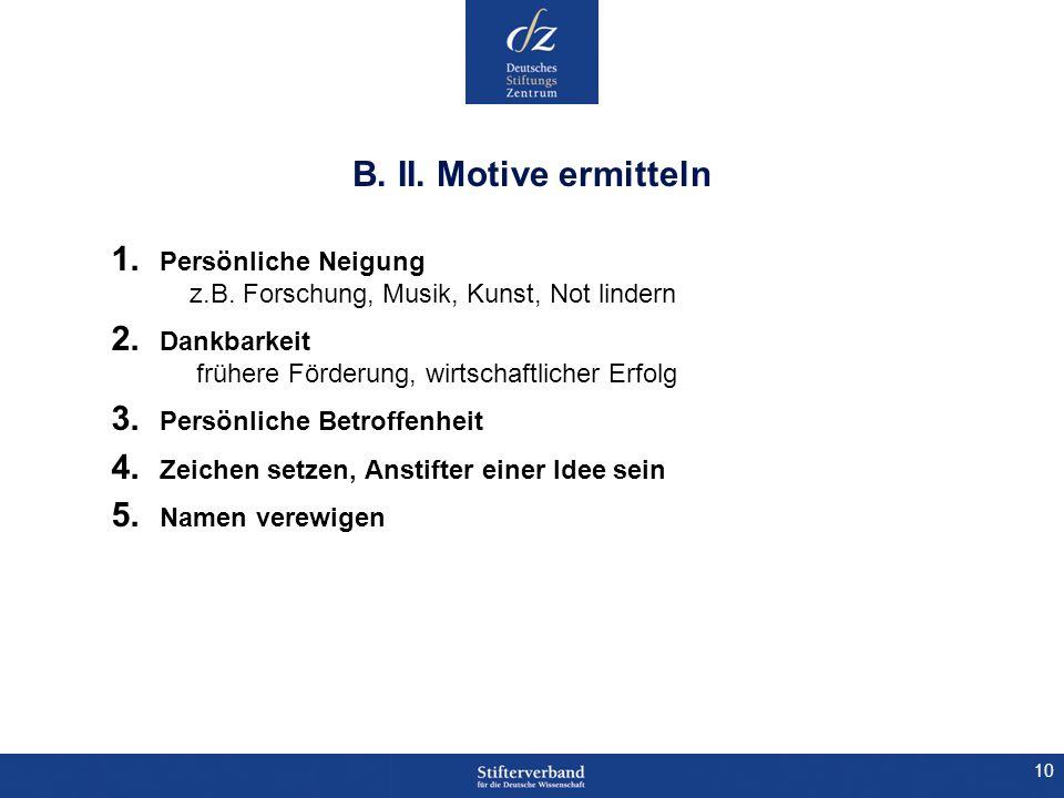 B. II. Motive ermitteln Persönliche Neigung z.B. Forschung, Musik, Kunst, Not lindern.