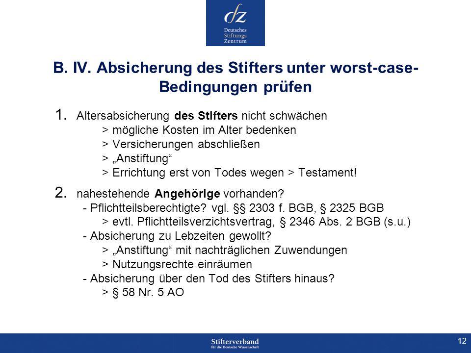 B. IV. Absicherung des Stifters unter worst-case-Bedingungen prüfen