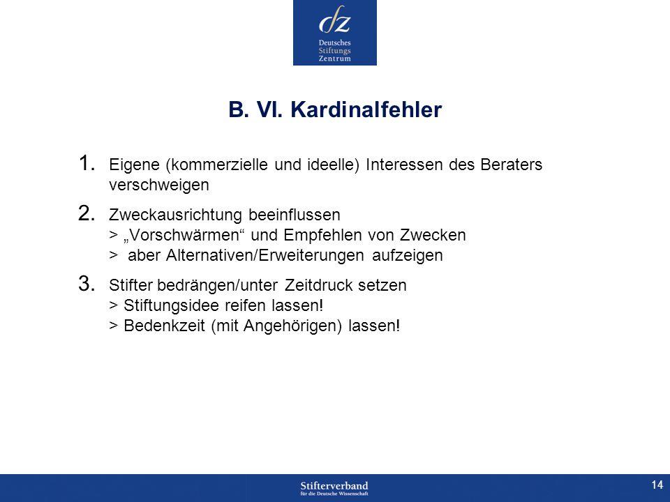 B. VI. Kardinalfehler Eigene (kommerzielle und ideelle) Interessen des Beraters verschweigen.