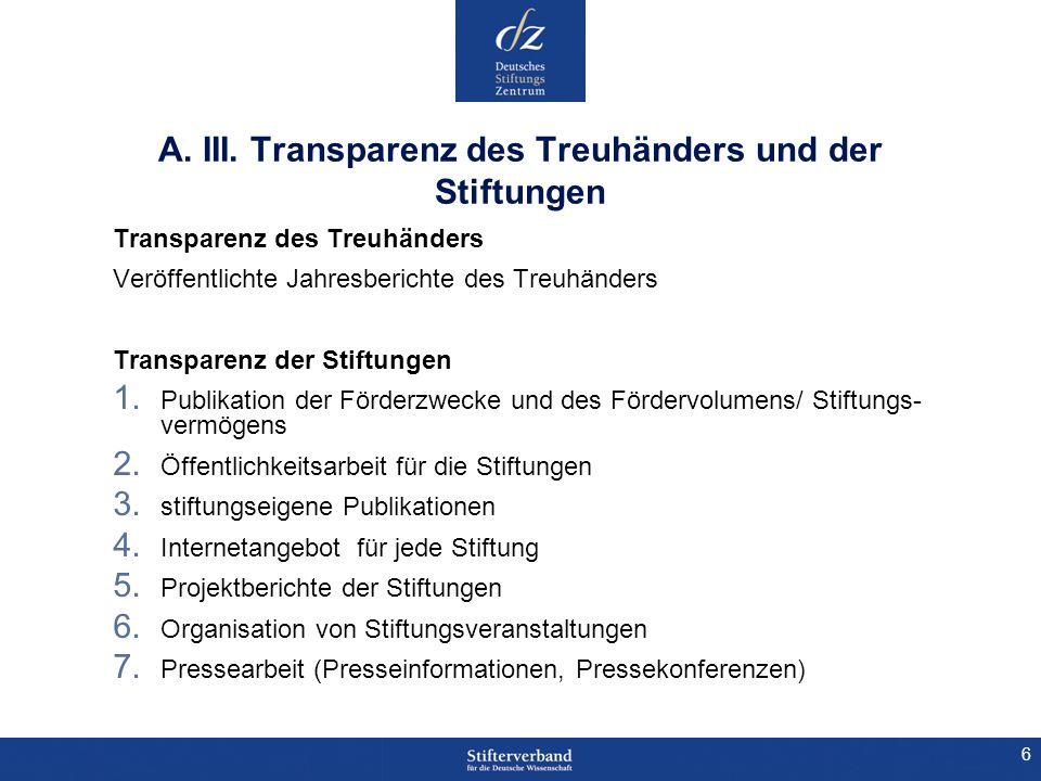 A. III. Transparenz des Treuhänders und der Stiftungen