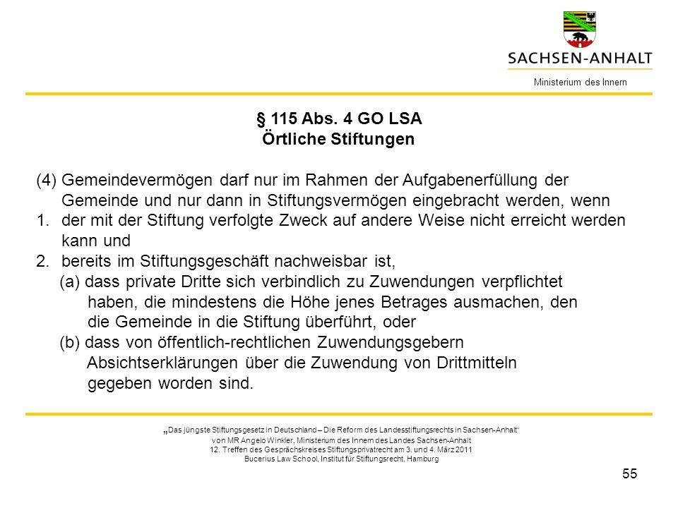 § 115 Abs. 4 GO LSA Örtliche Stiftungen