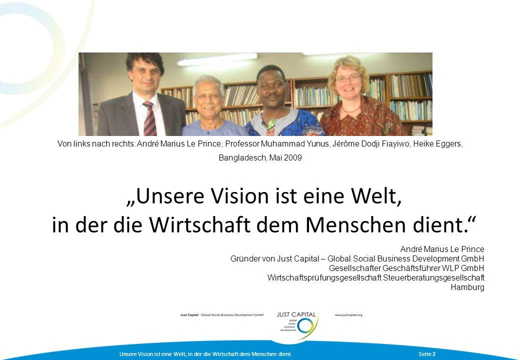 Von links nach rechts: André Marius Le Prince, Professor Muhammad Yunus, Jérôme Dodji Fiayiwo, Heike Eggers,