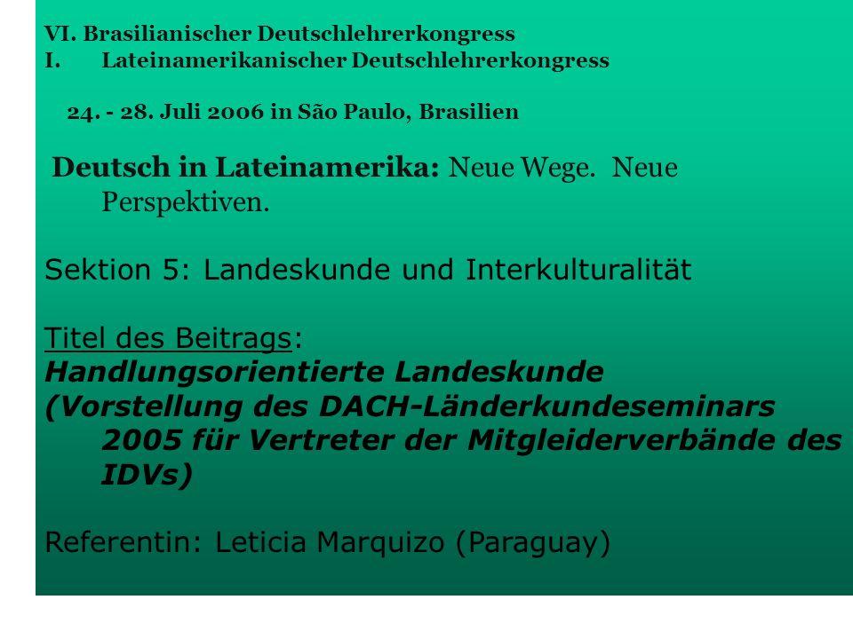 Sektion 5: Landeskunde und Interkulturalität Titel des Beitrags: